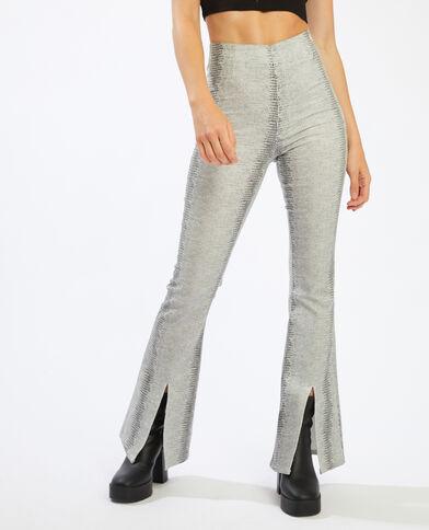 Pantalon flare enduit python blanc - Pimkie