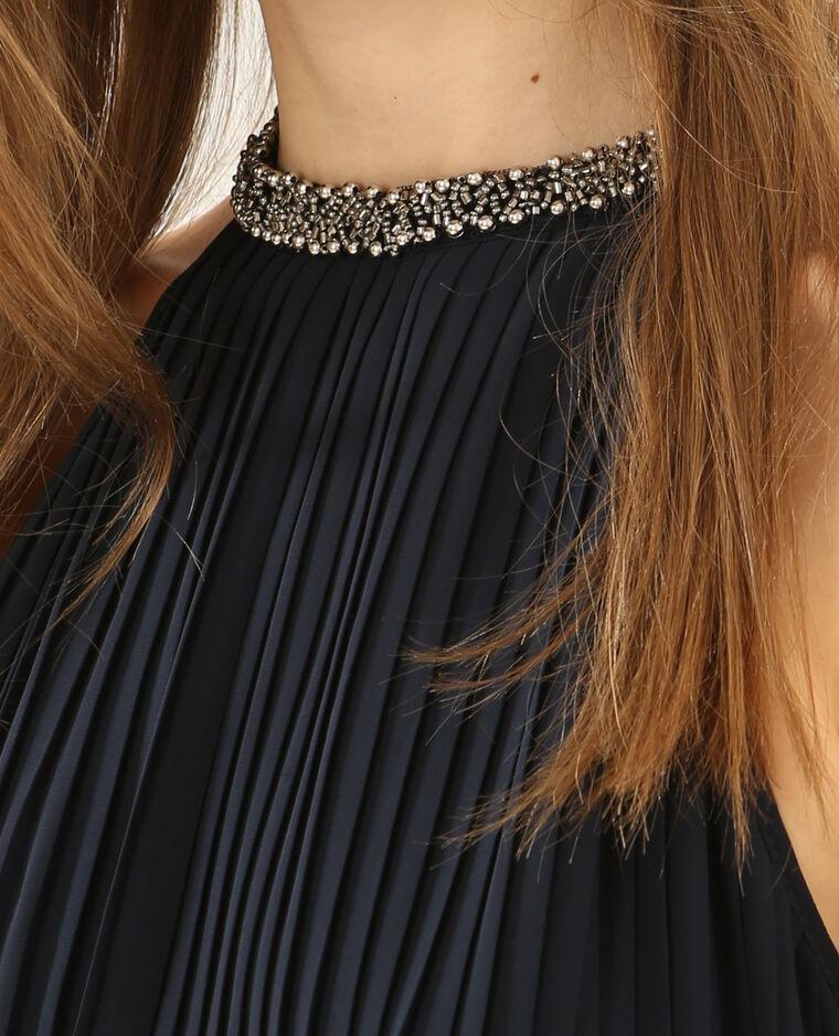 Robe plissée à bijoux bleu marine