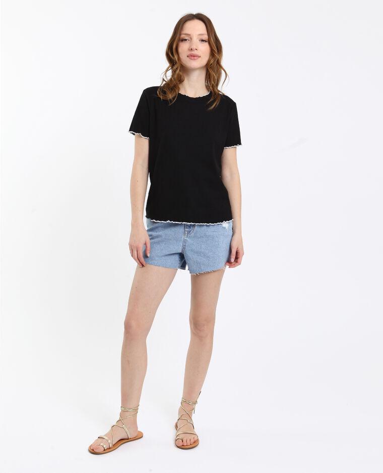 T-shirt cotelé noir