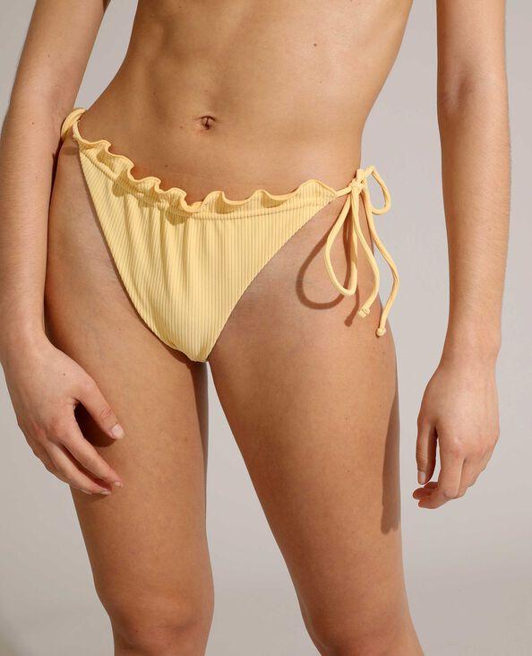 Bas de maillot de bain culotte côtelé et transformable jaune pâle - Pimkie