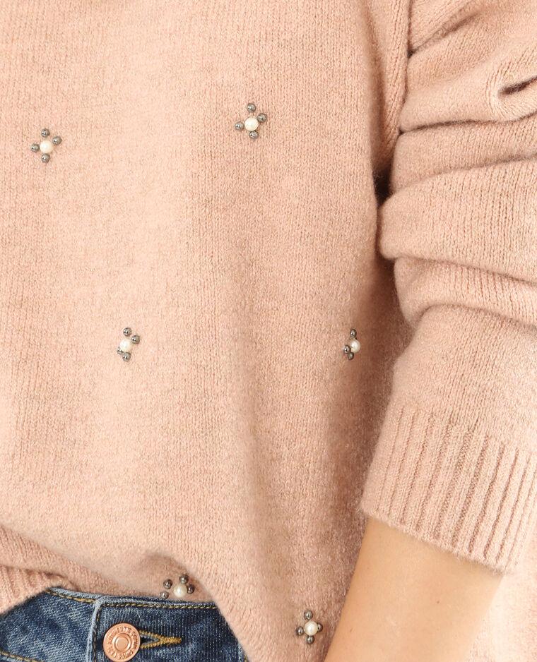 Pull à perles rose