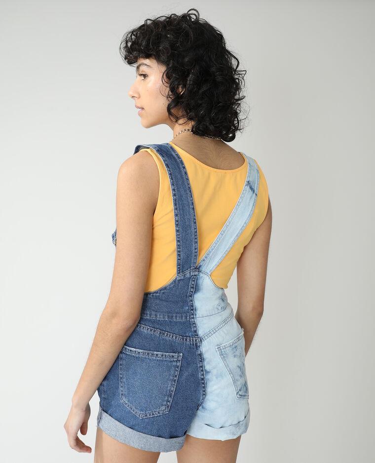 Salopette en jean bicolore bleu denim - Pimkie