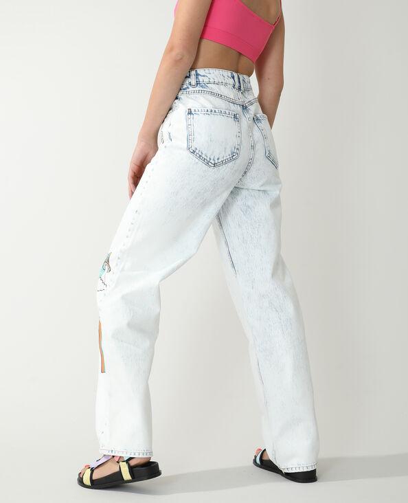 Jean straight high waist fantaisie bleu clair - Pimkie