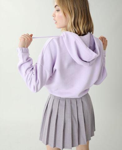 Sweat court molleton à capuche violet - Pimkie