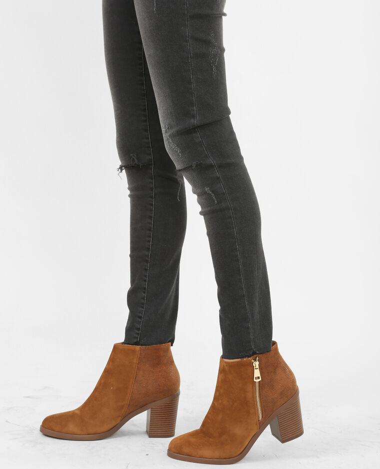Boots effet croco marron