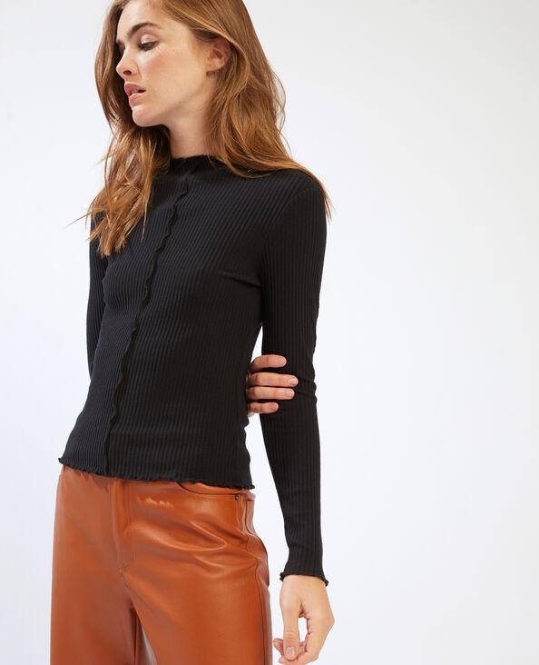 T-shirt côtelé et ondulé noir - Pimkie