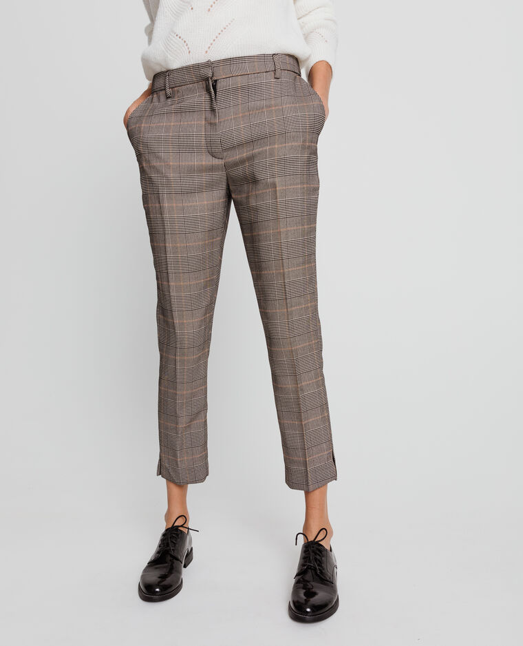 Pantalon city imprimé marron