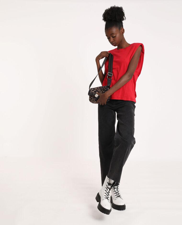 T-shirt à épaulettes rouge