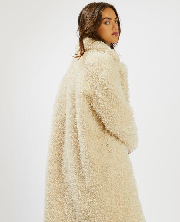 Manteau maille bouclette blanc cassé - Pimkie