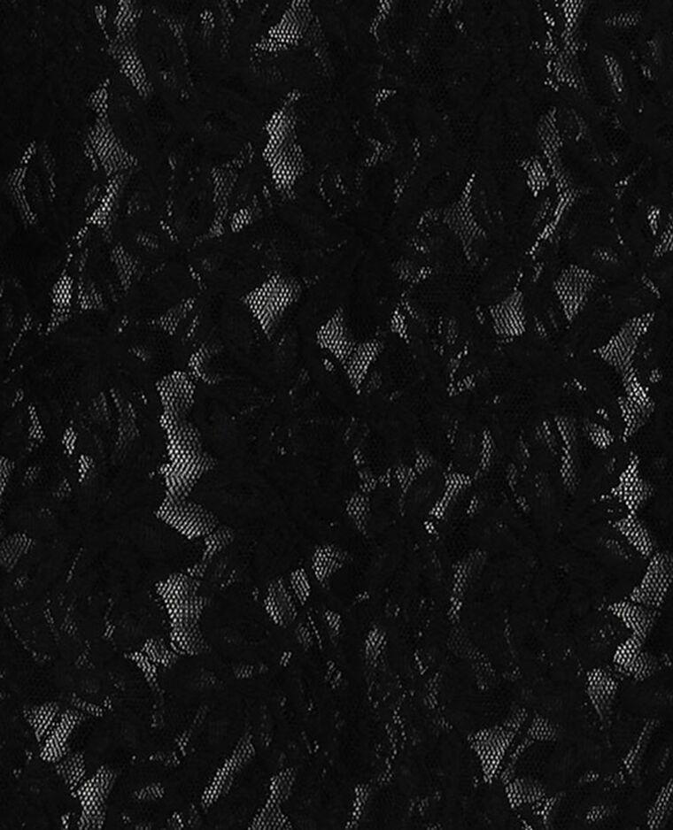 Top full dentelle à volants noir