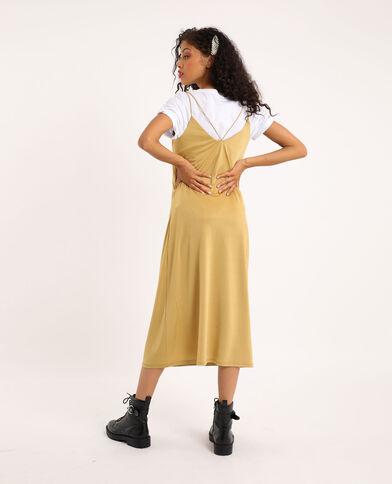 Robe longue doubles bretelles bronze