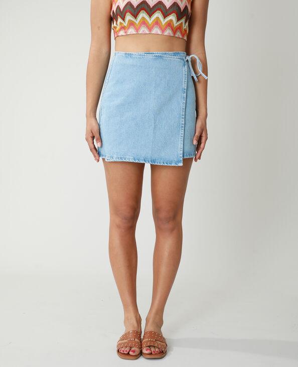 Jupe portefeuille en jean bleu clair - Pimkie