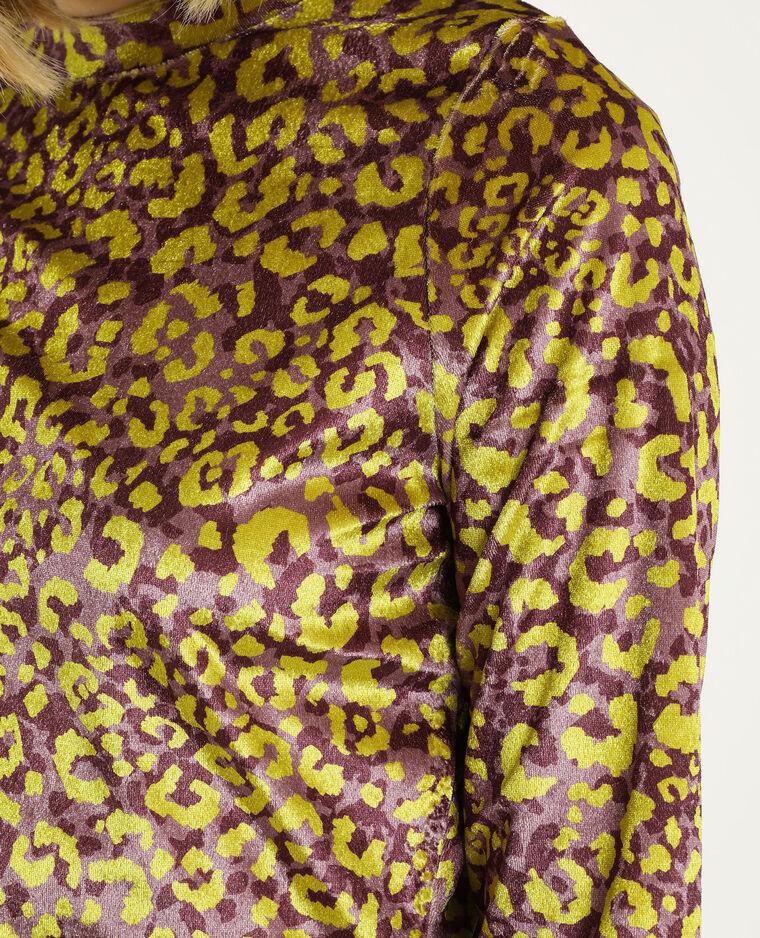 Top velours léopard violet