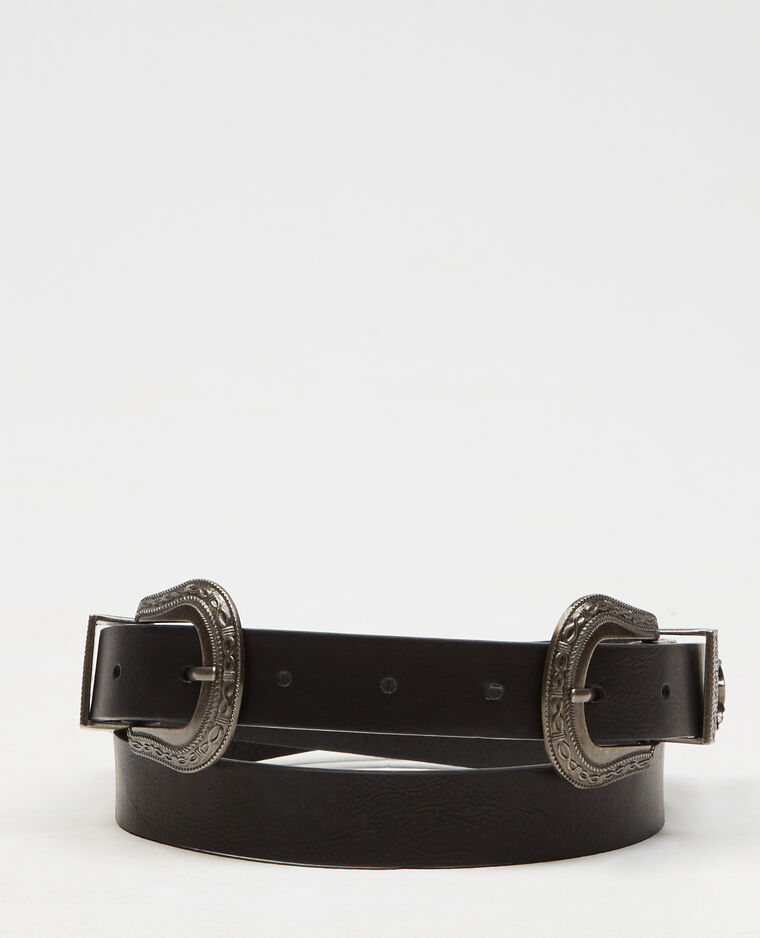 Ceinture double boucle noir - 902266899A08   Pimkie 25f03ec28aa