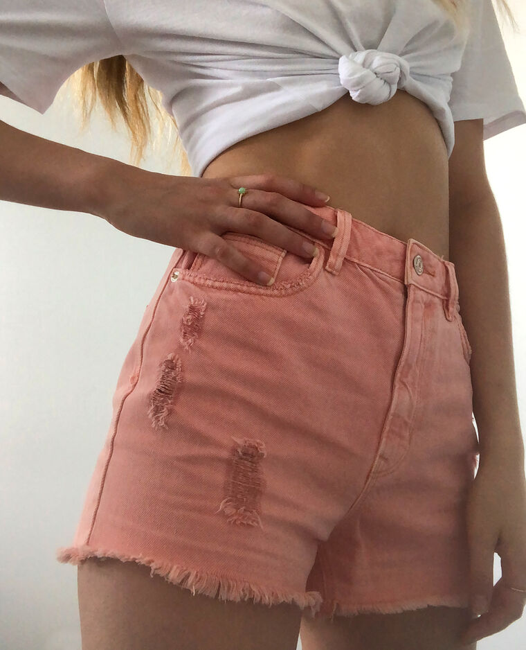 Short en jean high waist rose pâle
