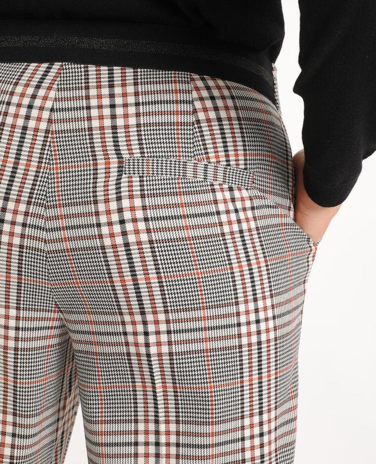 Pantalon city à carreaux marron