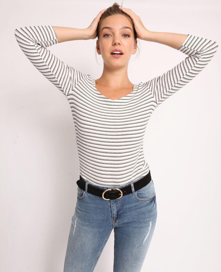T-shirt à maille côtelée blanc cassé