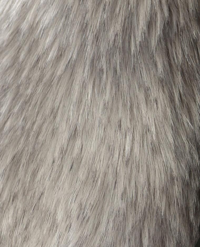 Gilet sans manches en fausse fourrure gris anthracite