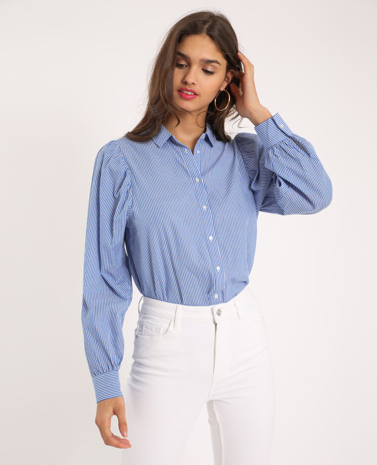Chemise manches ballon bleu