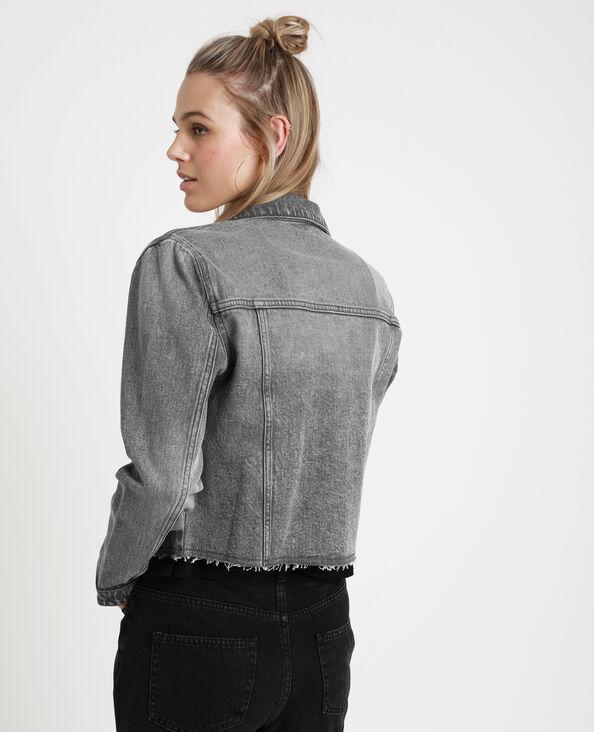 Veste en jean courte gris foncé