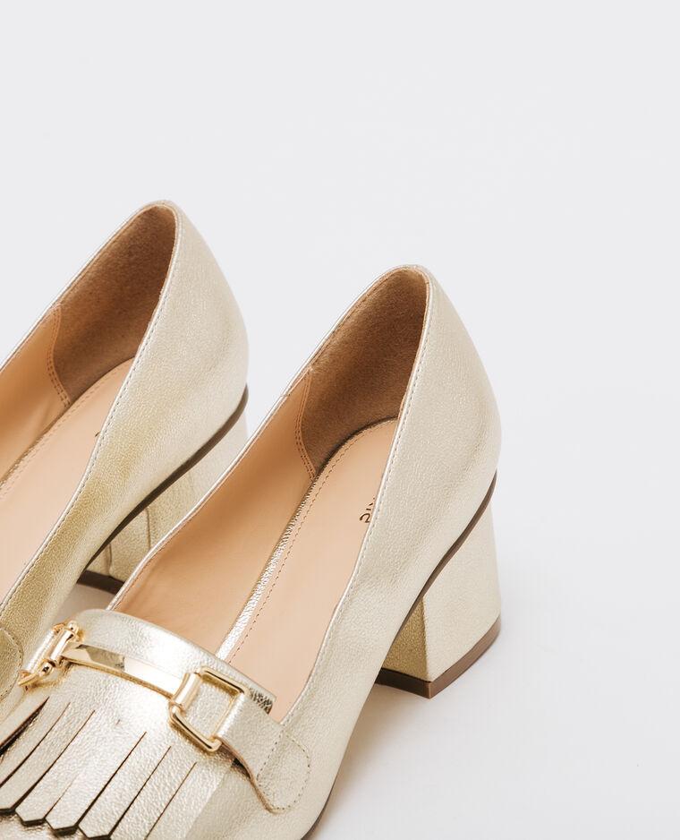 Escarpins à patte frangée doré