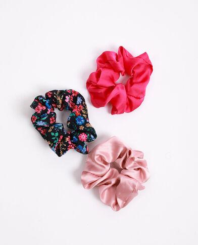 Lot de 3 chouchous rose fushia