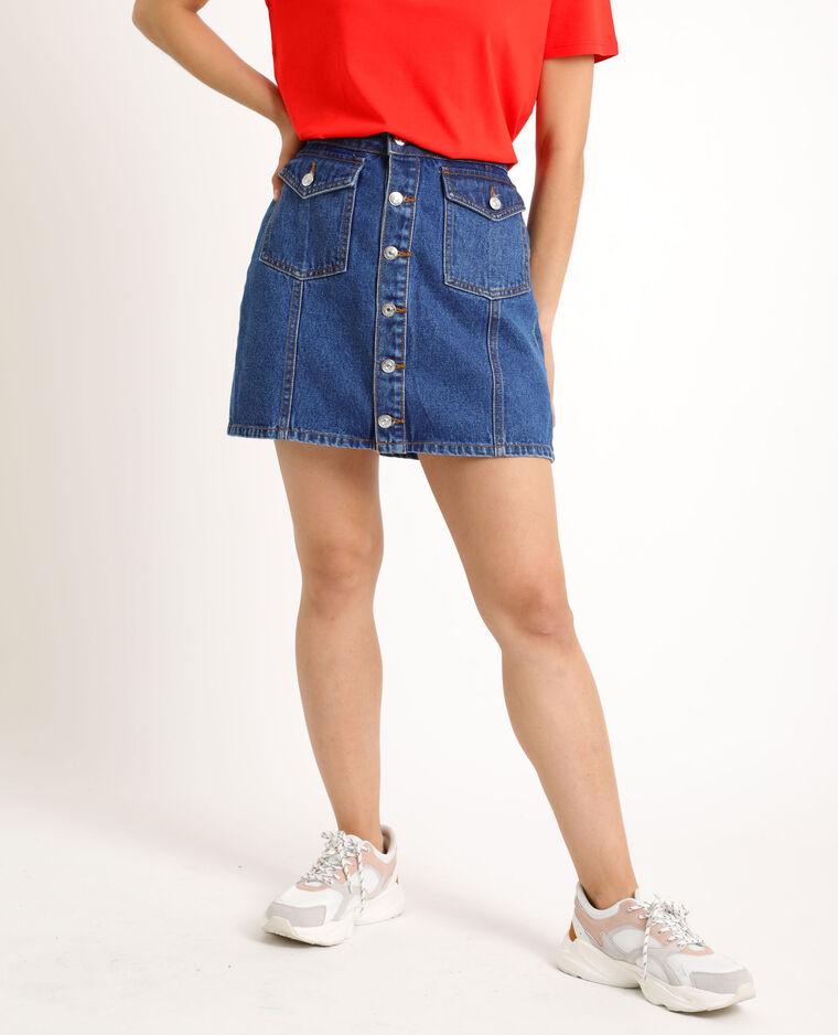 Jupe en jean boutonnée bleu brut - Pimkie