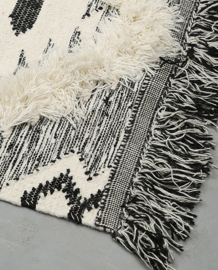 Tapis coton tissé berbère écru