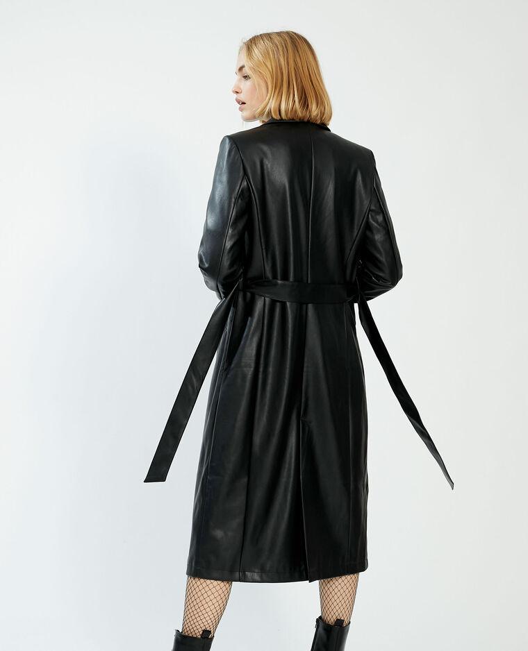 Manteau long en simili cuir noir - Pimkie