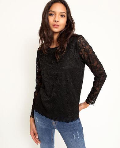 95a77370fe025 T-shirt en dentelle noir