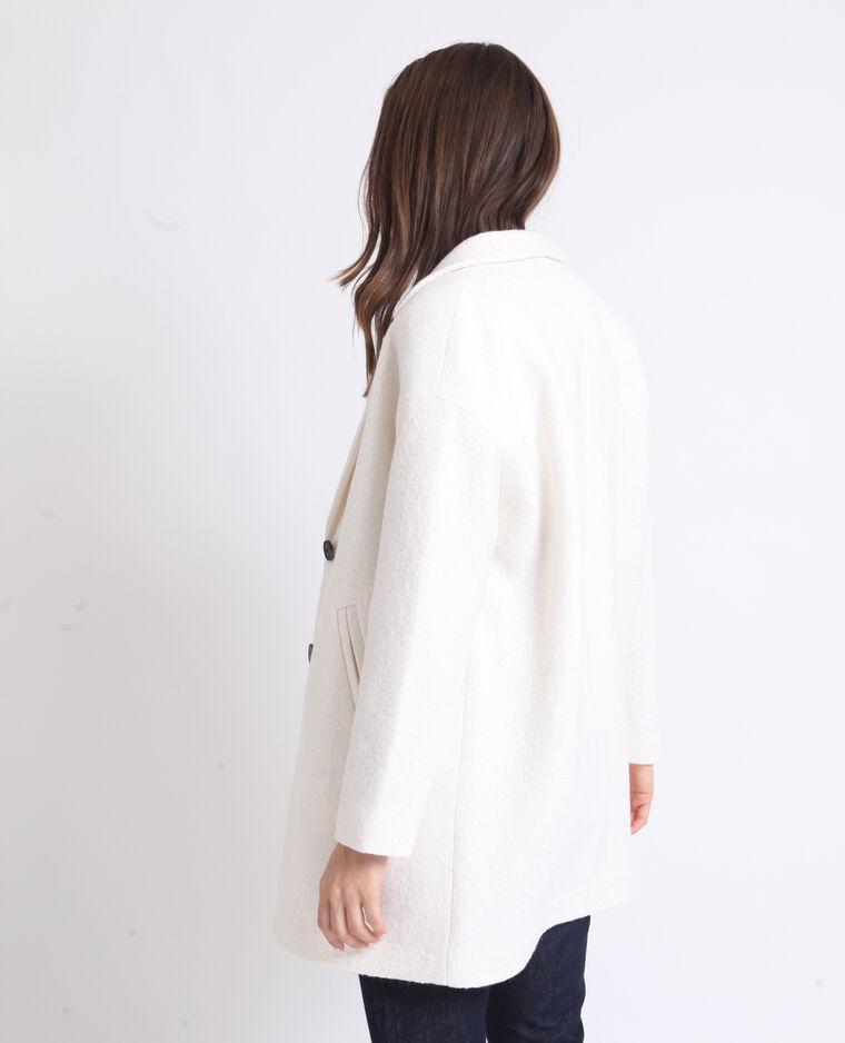 Manteau droit en laine blanc cassé