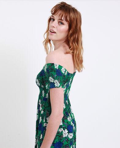Robe à col bardot vert