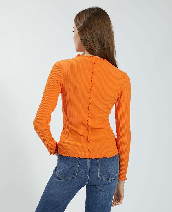 T-shirt côtelé et ondulé orange - Pimkie