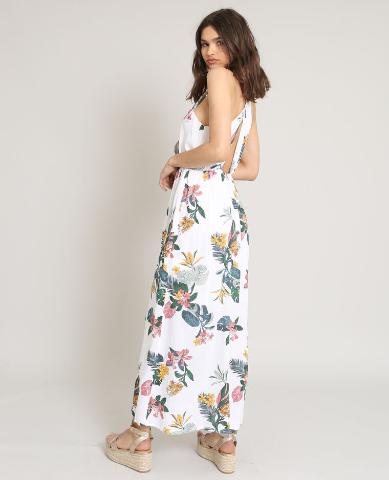 Robe longue à dos ouvert blanc