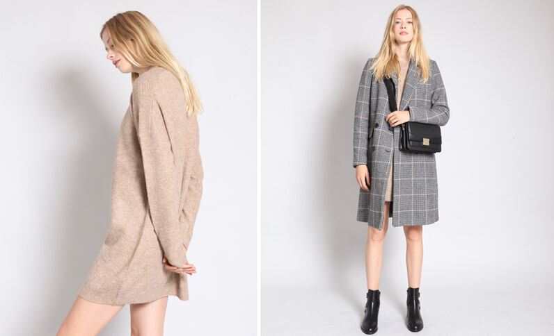 Robe pull beige sable