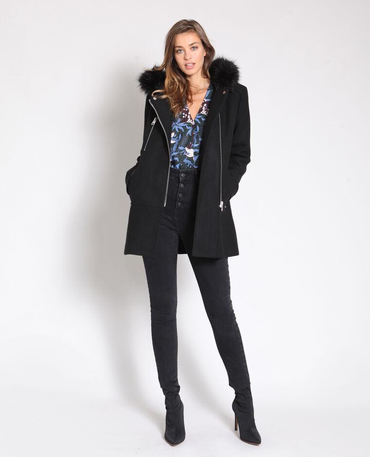 Manteau mi-long à capuche noir