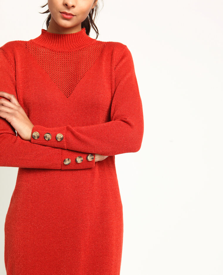 Robe pull pailletée rouge