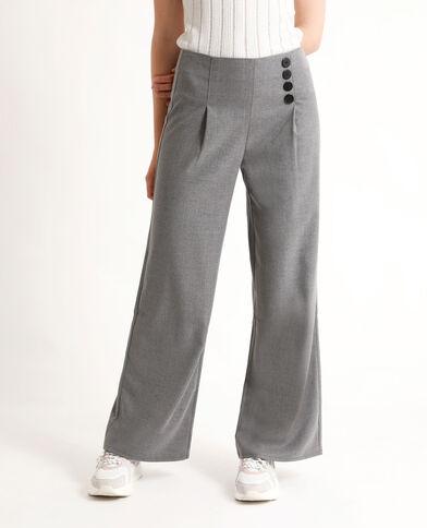 Pantalon à jambes larges gris chiné