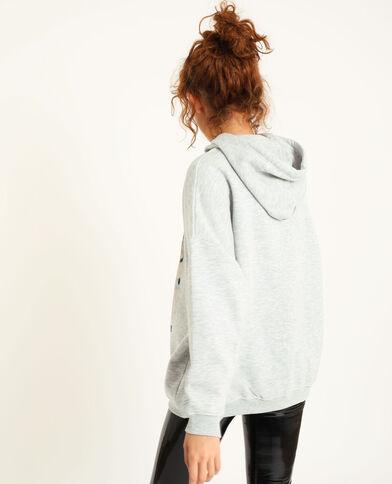 Sweat oversized à capuche gris chiné