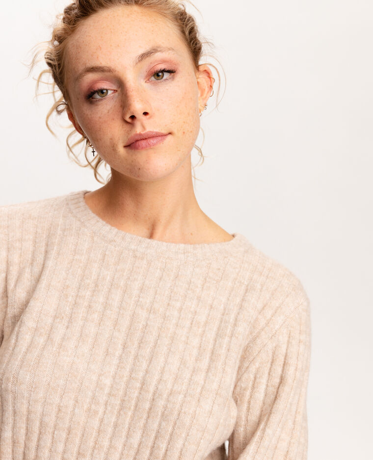 Pull côtes plates beige