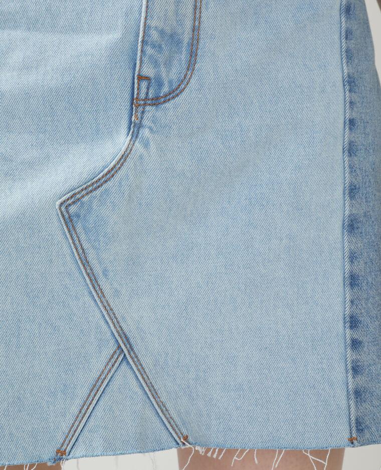 Jupe en jean destroy bleu délavé