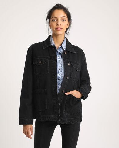 Veste en jean en matière recyclée noir