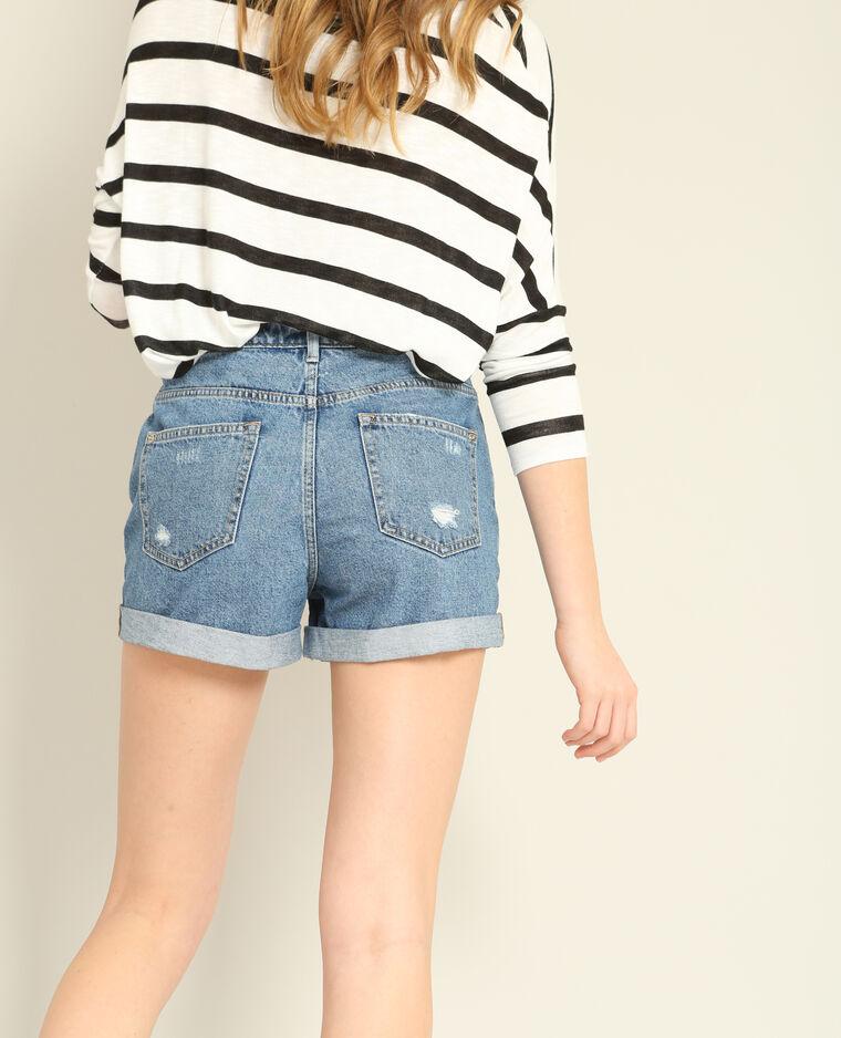 Short en jean mum bleu denim