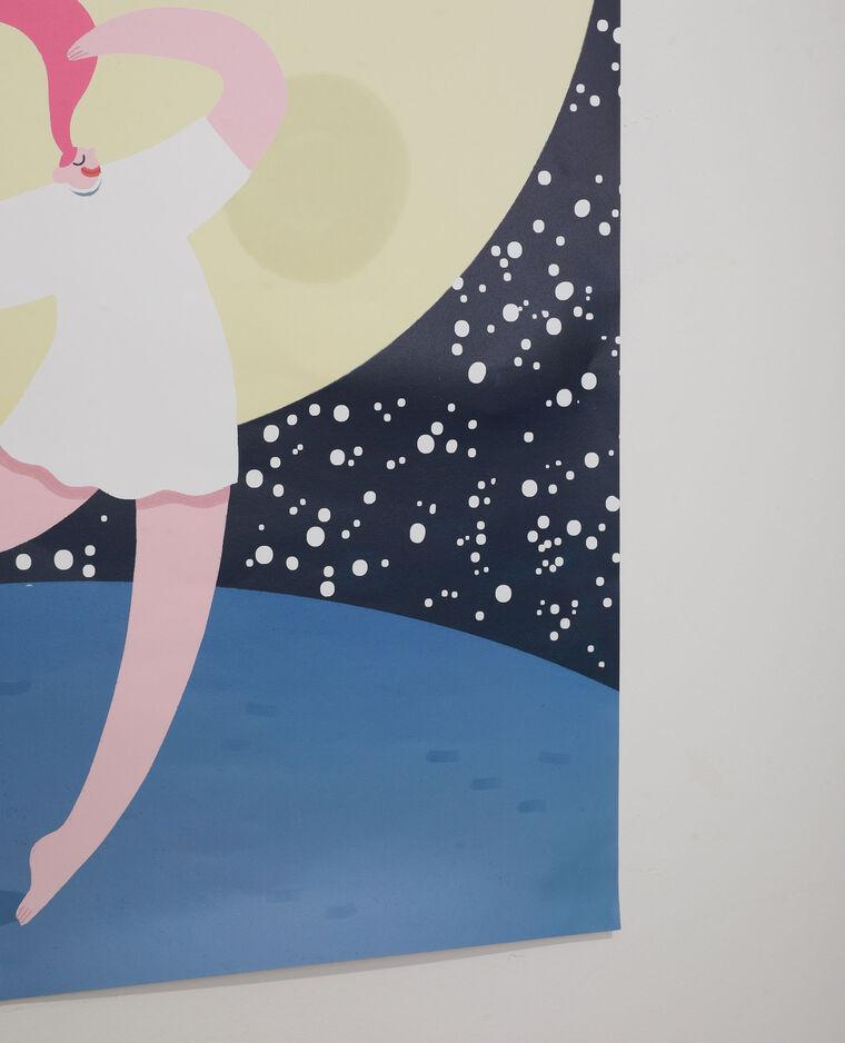 Affiche grand format femme & lune - Collab Lavilletlesnuages bleu - Pimkie
