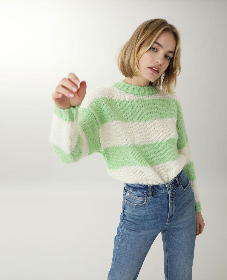Pull grosse maille vert