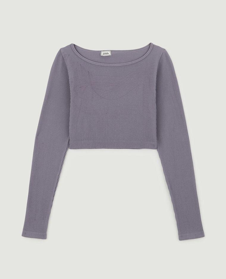 Cropped top côtelé violet - Pimkie