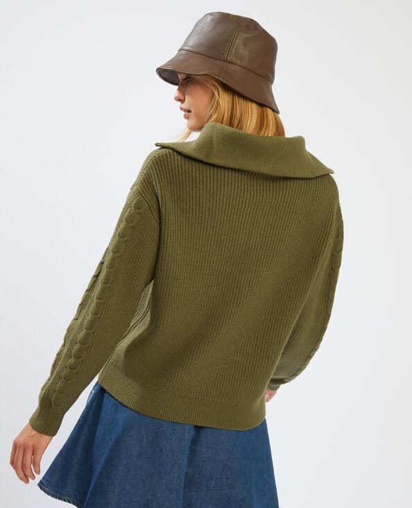 Pull col zippé vert - Pimkie