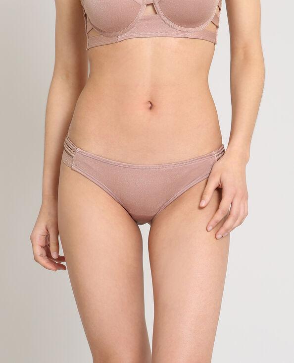 Bas de bikini lurex rose