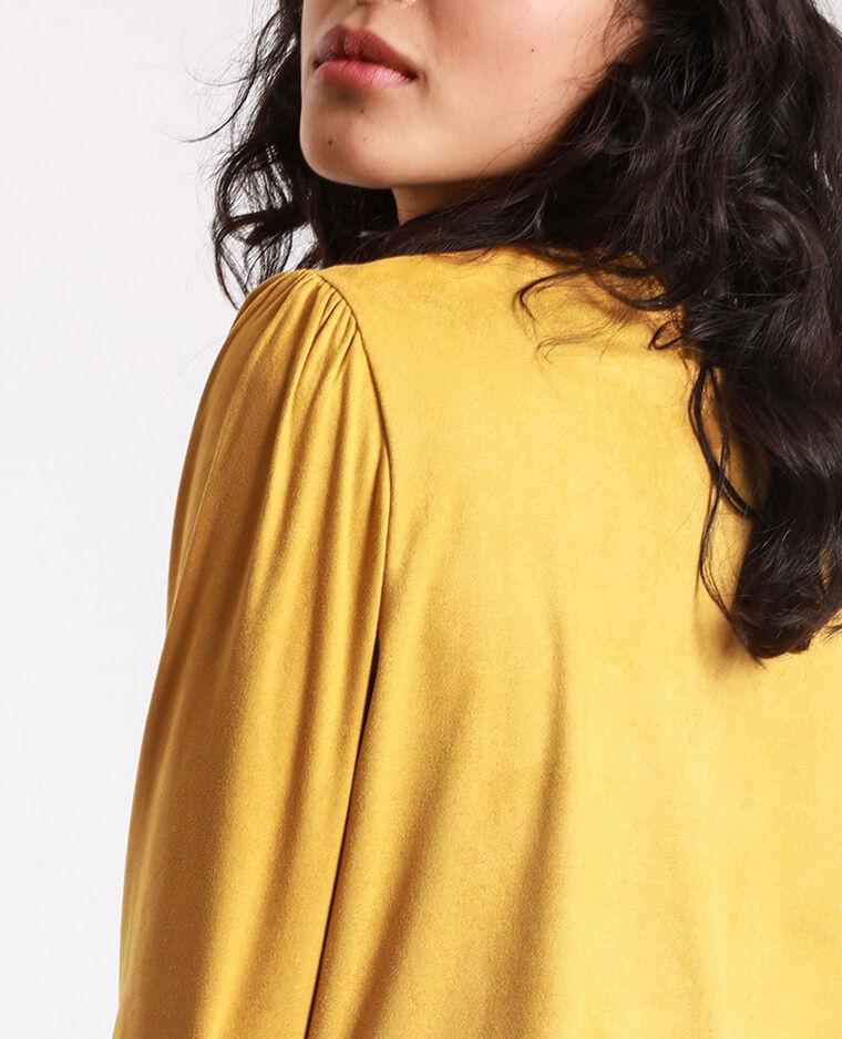 T-shirt en suédine jaune moutarde