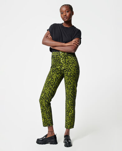 Jean straight léopard vert d'eau - Pimkie